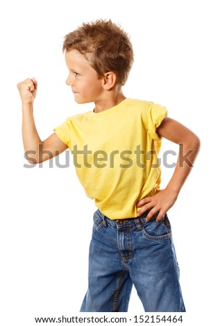 Strong boy shakes his fist, isolated on white - stock photo