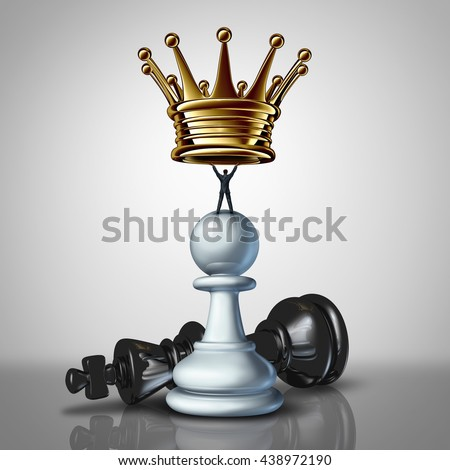 Strong Business leadership strategy concept as a take charge businessman standing on a chess pawn lifting a crown as an icon of a leader with strategiuc determination with 3D illustration elements. - stock photo