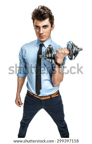Strong businessman holding a dumbbell / photos of young man wearing shirt and tie over white background   - stock photo