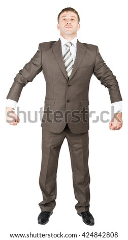 Strong businessman on white isolated on white background - stock photo
