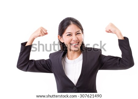 strong, confident, smiling, happy business woman - stock photo