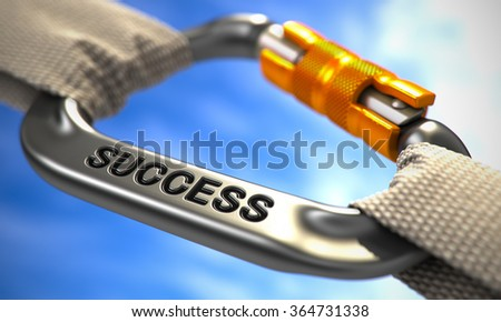 Strong Connection between Chrome Carabiner and Two White Ropes Symbolizing the Success. Selective Focus. - stock photo