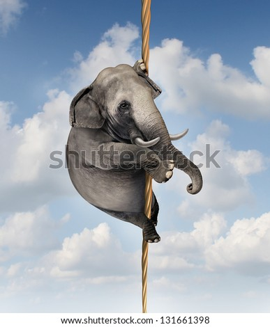 Strong determination managing risk and uncertainty with a large elephant climbing a rope high in the sky as a symbol of vision and being driven to succeed and overcoming fear for goal success. - stock photo