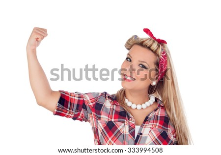 Strong girl with pretty smile in pinup style isolated on a white background - stock photo