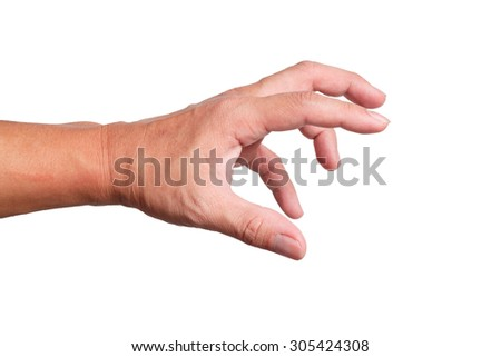 Strong Hand grabbing or reaching for Something isolated on white back ground
