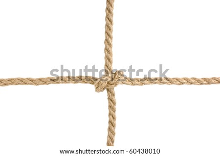 strong knot tied by a rope isolated on a white background