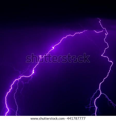 Strong Lightning Bolt Strike Real Photo