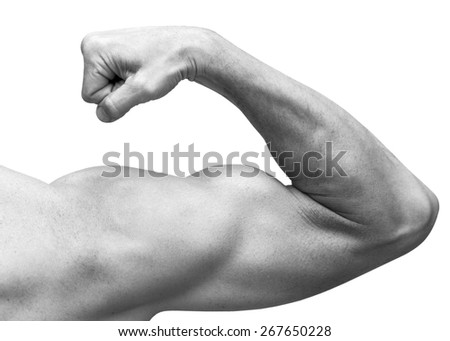 Strong male arm shows biceps. Close-up black and white studio photo isolated on white - stock photo