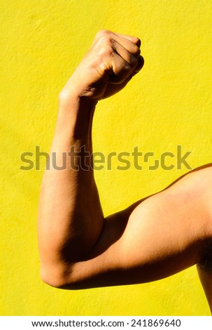 Strong male arm shows biceps.  Close up photo on yellow background / Strong male arm shows biceps/  Strong male arm shows biceps close up photo (arm, muscle, power)  - stock photo