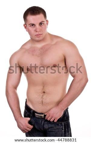 strong man on white background