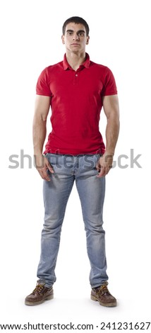 Strong man posing isolated with casual clothes