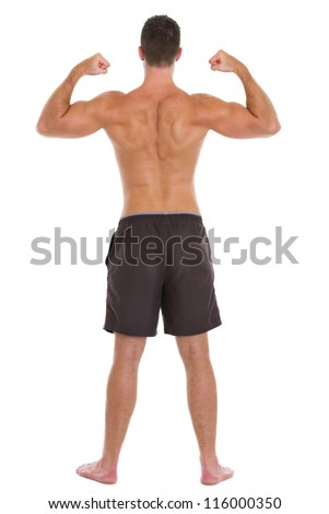Strong man sports man showing muscular back - stock photo