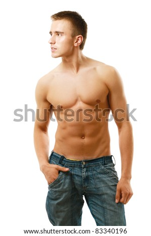 Strong man with a helathy body isolated over white - stock photo