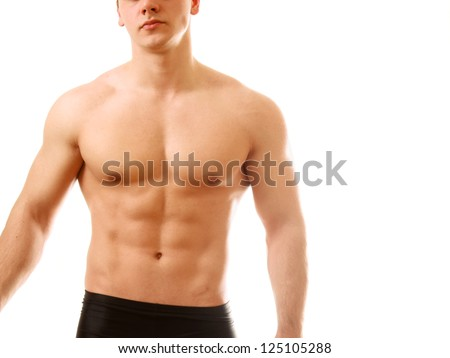 Strong man with a helathy body isolated over white background