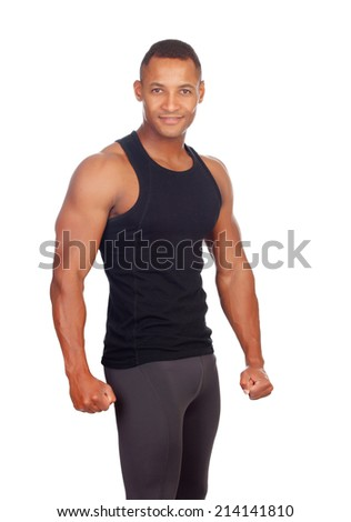 Strong man with black t-shirt isolated on a white background - stock photo