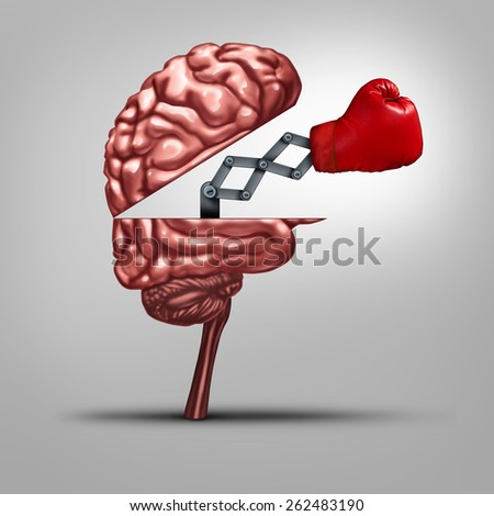 Strong memory and brain strength symbol as a human thinking organ opened to reveal a boxing glove as a concept for fighting alzheimers disease and other dimentia illnesses. - stock photo