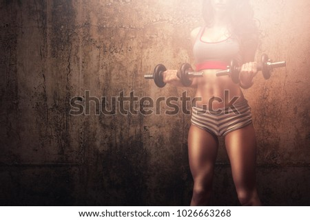 Strong muscles athletic woman