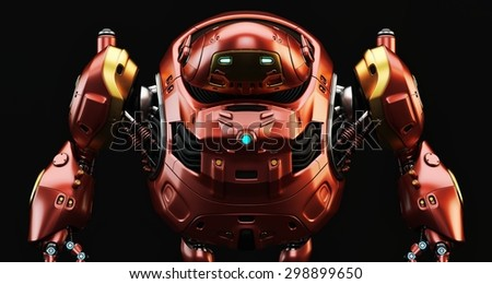 Strong robotic turtle with glowing circle / Cherry futuristic turtle - stock photo