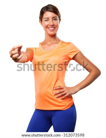 strong sport woman with visit card