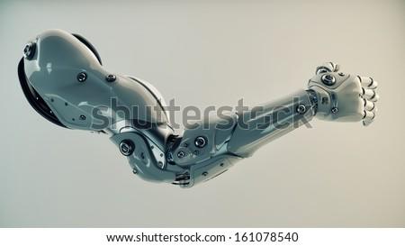 Strong stylish futuristic robot arm prosthesis / Plastic brawny cyber arm - stock photo