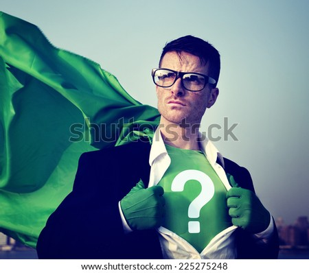 Strong Superhero Businessman Question Mark Concepts - stock photo