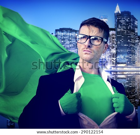 Strong Superhero Professional Leadership Business Victory Concept - stock photo