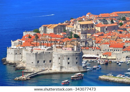 Strong walls of Dubrovnik old town surrounded by the Adriatic sea, Croatia
