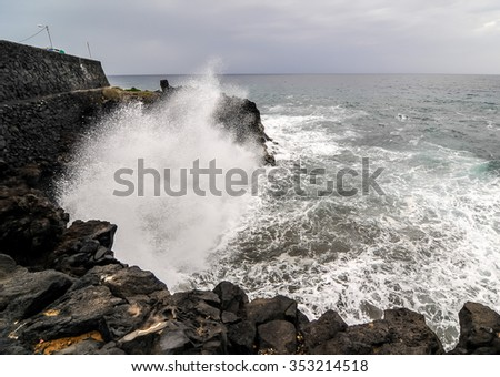 Strong Waves Crashing on the Volcanic Coast in Tenerife Canary Islands