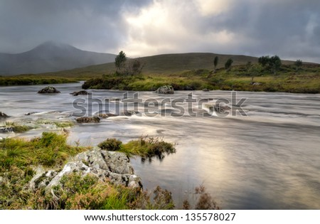 Strong winds on Loch Na make swirling water patterns in this stunning Highlands of Scotland.