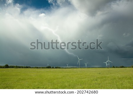 struck by lightning during a thunderstorm. beauty of Nature - stock photo