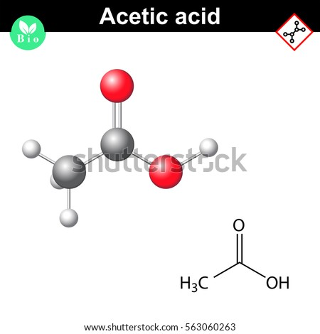 Structural Chemical Formula Molecular Structure Acetic Stock