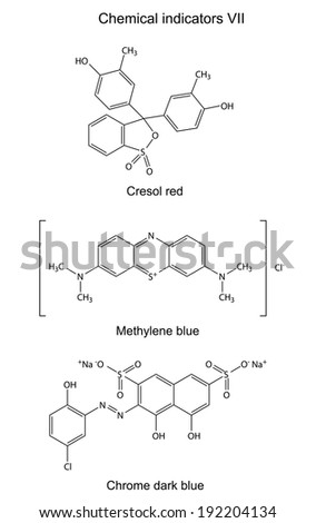 Structural formulas of chemical indicators (cresol red, methylene blue, chrome dark blue), 2D illustration, isolated on white background