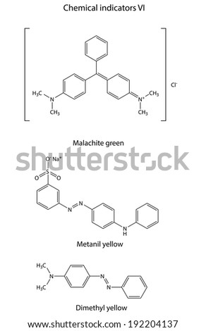Structural formulas of chemical indicators (malachite green, metanil yellow, dimethyl yellow), 2D illustration, isolated on white background