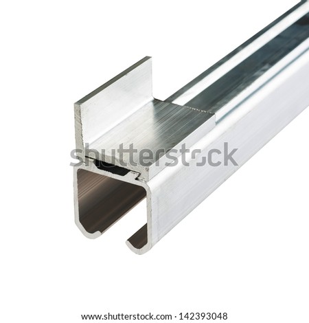 Structural metal shapes - aluminium profiles over white - stock photo