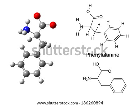 Structural model of phenylalanine molecule on white background, 3d illustration - stock photo