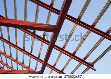 structural steel beam on roof of building residential construction with sky