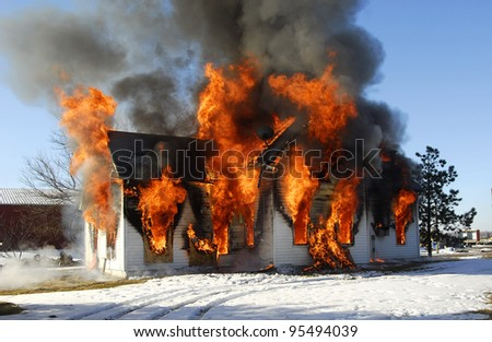 structure fire - stock photo