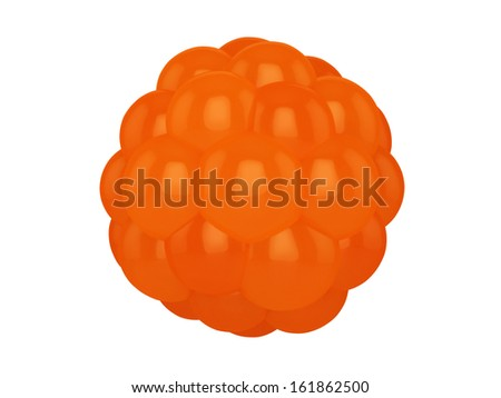 Structure of a morula, a spherical embryonic mass of blastomeres resulting from the cleavage of the fertilized ovum during reproduction which will give rise to the embryo and foetus - stock photo