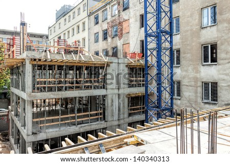 Structure of a new unfinished modern building