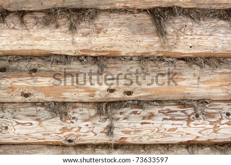 Structure of a wall of a wooden log house - stock photo