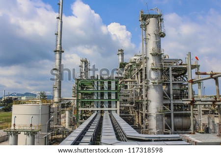 Structure of chemical plant - stock photo