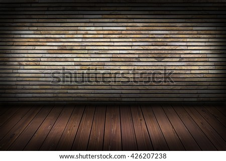 Structure of Modern Slate stone brick wall for background and wood floor