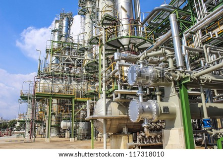 Structure of Oil and chemical factory in day time - stock photo