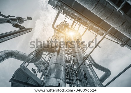 structure of oil refinery plant  - stock photo