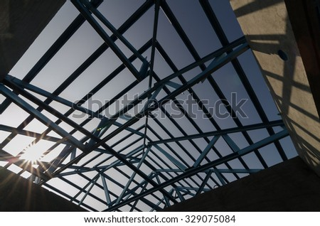 Structure of steel roof frame for building construction. - stock photo