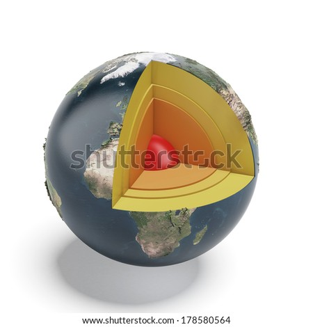 Structure of the Earth isolated on a white background. Elements of this image furnished by NASA - stock photo