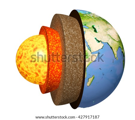 Structure of the Earth. Model isolated on white background. Elements of this image furnished by NASA. 3d render