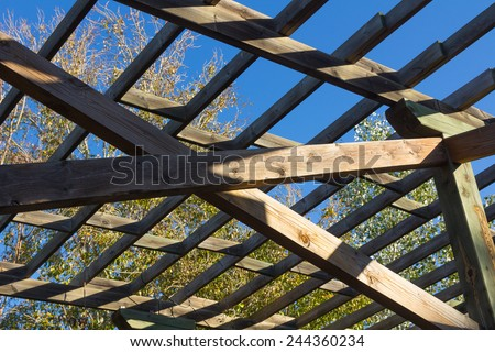 structure of wood for climbing plants - stock photo