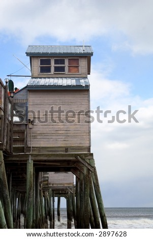 structure on a pier - stock photo