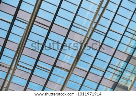 Structure steel roofing and modern architectural facade., Abstract background.